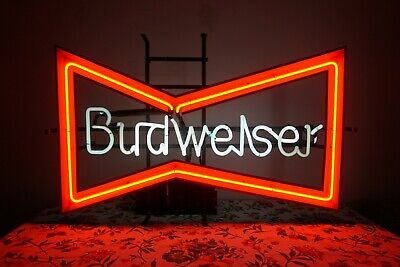$ CDN250 • Buy VINTAGE BUDWEISER BOW TIE NEON SIGN #051-126 Local Pickup Or Buyer Arranges Ship