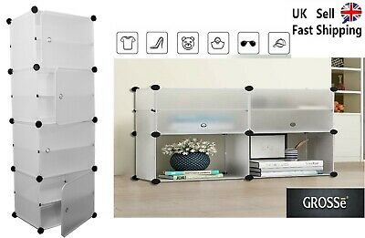 AU45.32 • Buy Large 8-Cube DIY Shoes Rack Portable Interlocking Plastic Cabinet Storage White