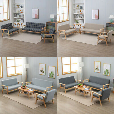 £162.99 • Buy 1/2/3 Seaters Linen Retro Sofa Armchair Bench Wood Frame Padded Seat Couch Home