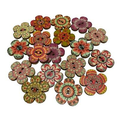 £2.59 • Buy 40 20mm RUSTIC FLOWER SHAPE WOODEN BUTTONS  - CRAFT - SCRAPBOOK - SEWING - CARDS