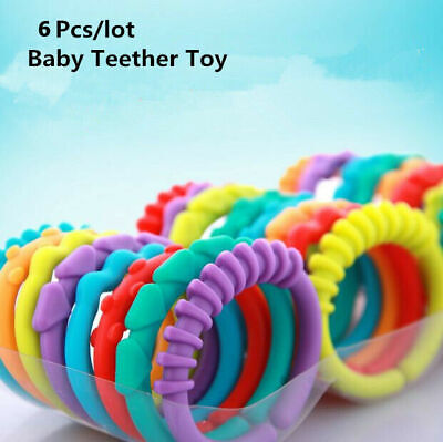 6x Rainbow Teether Ring Links Plastic Baby Kids Infant Stroller Gym Play Mat Toy • 1.99£
