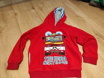 Fireman Sam Fleece Jumper Sweatshirt Hoodie. Age 4-5 Marks And Spencer • 3£