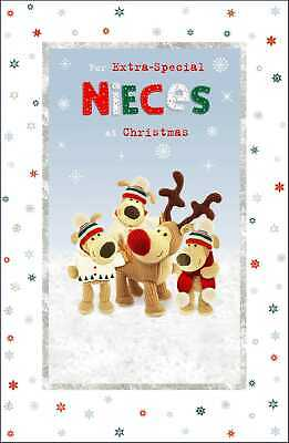 Boofle Extra-Special Nieces Glitter Christmas Greeting Card Cute Xmas Cards • 3.99£