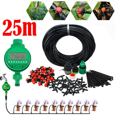 Automatic Drip Irrigation System Plant Timer Self Watering Garden 25M Hose Set • 16.19£
