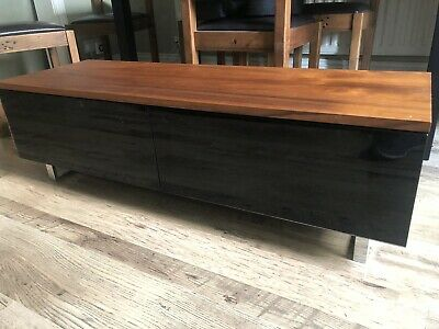 Walnut TV Stand Display Unit With Black Glass Cabinets • 100£