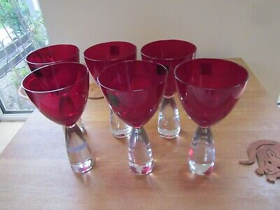 Julien Macdonald/Royal Doulton Tall Wine Glasses Set Of 6 - Red/Clear 20cm Tall • 50£