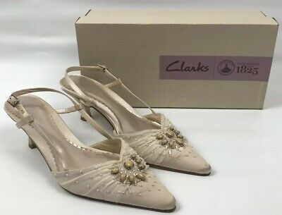 Ladies Clarks K Shoes Ivory Sling Back Shoes Wedding/formal/cruise Size 5 • 9.95£