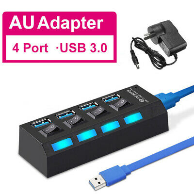 AU16.80 • Buy 4 Ports USB 3.0 HUB Power High Speed Splitter Extender AC Adapter Cable Desktop
