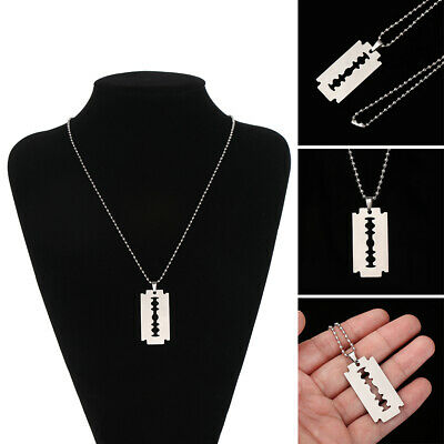 Unisex Stainless Steel Razor Blade Shaped Pendant Dogtag Necklace Brand Hot • 2.99£