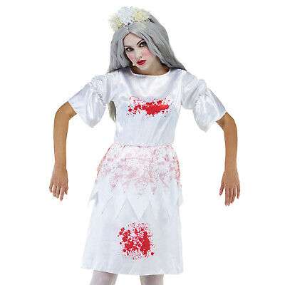 £3.95 • Buy Ladies Bloody Stained Satin Fancy Dress Costume Womens Zombie Halloween Carnival