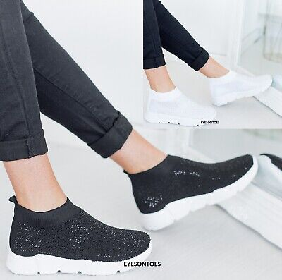 $ CDN17.07 • Buy Womens Ladies Sock Sneakers Party Diamante Studded Sport Trainers Shoes Size