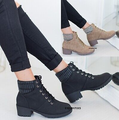 Ladies Womens Lace Up High Block Heel Solid Platform Elastic Back Ankle Boots Sz • 13.95£