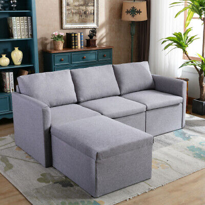 3 Seater L Shaped Sofa Bed Settee Fabric Couch Settee Suite Upholstered Seat • 289.99£