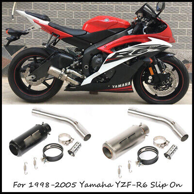 $109.99 • Buy For 98-2005 Yamaha YZF-R6 Motorcycle Exhaust Pipe Slip On 51 Mm Mid Tail Muffler