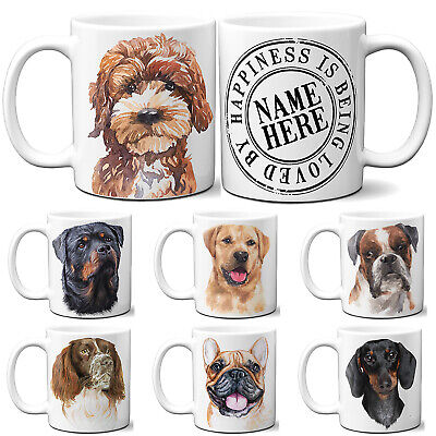 Personalised Dog Mug Puppy Portrait Watercolour Cup Birthday Christmas Gift  • 10.95£
