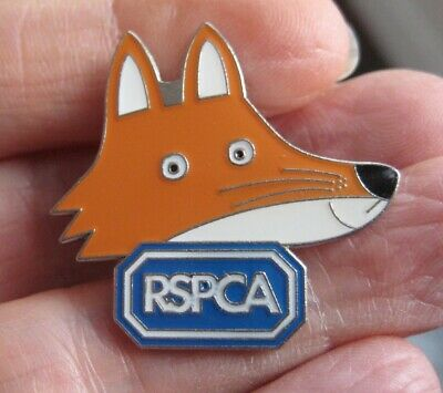 RSPCA Animal Charity Vintage Metal & Enamel FOX Pin BADGE • 3.99£