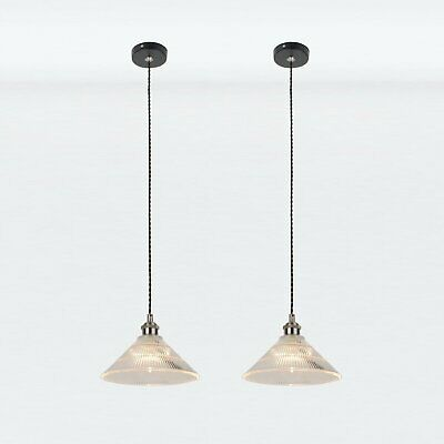 Set Of 2 Industrial Modern Ceiling Light Pendant Fittings Black & Fluted Glass • 54.99£