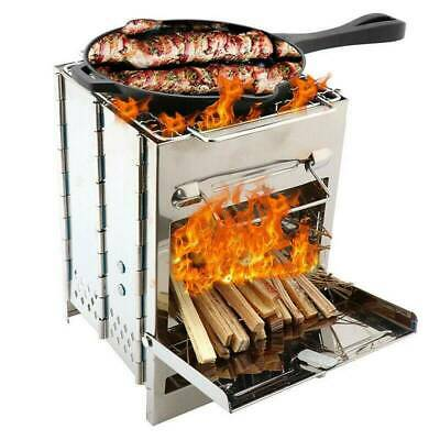 £19.37 • Buy Portable Camping Cooking BBQ Steel Wood Stove Picnic Cooker Outdoor Equipment UK
