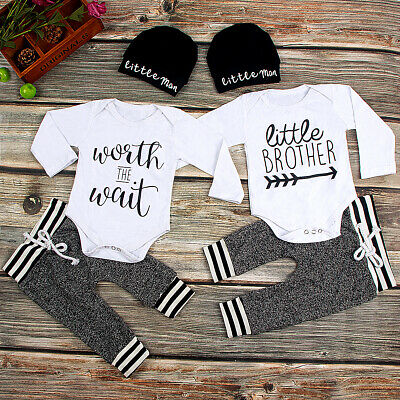 Baby Boy Brothers Matching Clothes Letter Romper Pants Hat Outfits Sets • 15.75£