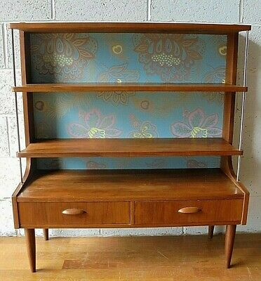 £225 • Buy Rare Vintage Retro Teak Mid Century Bookcase Wall Unit Room Divider With Drawers