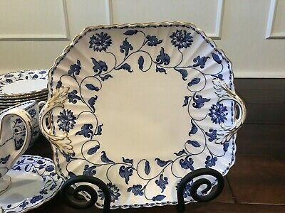 Spode Blue Colonel Gold Trim Square Handle Cake Serving Plate • 102.41£