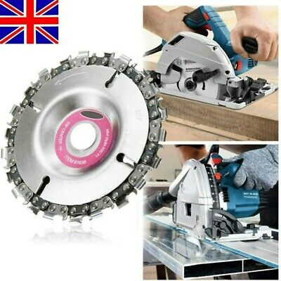 4  Angle Grinder Disc 22 Tooth Chain Saw Blade For Wood Carving Cutting Tool UK • 8.99£