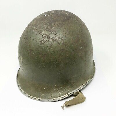 $ CDN431.02 • Buy WWII US Army M1 Helmet Steel Pot Fixed Bale Front Seam With MSA Liner