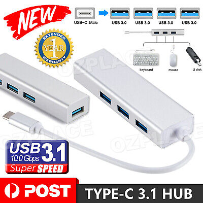 AU12.95 • Buy USB 3.1 USB-C Type-C HUB To 4x USB 3.0 Charging Port Thunderbolt 3 Adapter AU