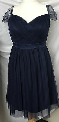 Dark Blue Full Net Skirt Occasion Dress, Size 18 New With Tags. • 5£