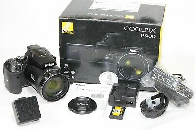 Fantastic Boxed NIKON COOLPIX P900 'Bridge' Camera 24-2000mm Lens 16mp + Extras • 459.99£