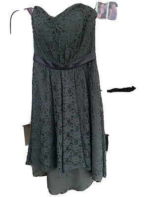 Women Lace Dress In Dark Grey High Low Hem. Strapless With Button Detail Back • 7£