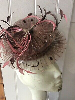 Mad Hatters Brown, Pink Feather Fascinator, Wedding, Special Occasion • 9.99£