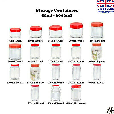 £4.97 • Buy Plastic Storage Jar With Screw Top Lids Herb Spices Food Containers Clear Pots