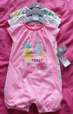 Bnwt X3 Baby Girl Pretty Pink Romper Suits, By Primark, Age 12-18 Months • 2.20£