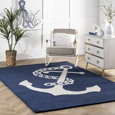 Nautical Anchor Navy Blue Hand-Tufted 100% Wool Soft Area Rug Carpet • 155£