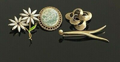 $ CDN3.93 • Buy Lot 4 Vintage Gold Tone Brooches Enamel Stones Faux Pearl 1 Signed Japan #202