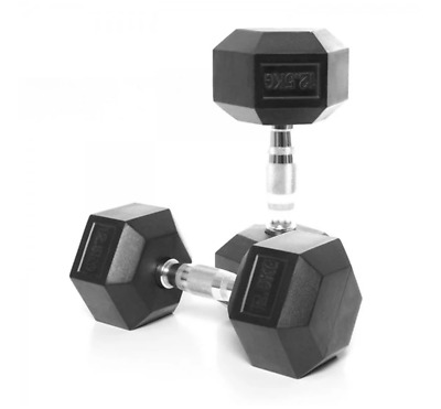 AU125 • Buy 12.5kg Rubber Hex Dumbbells (pair) + Free Shipping