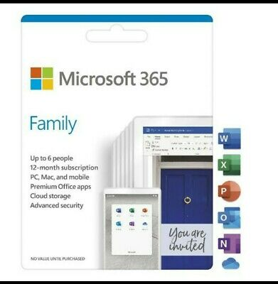 AU90 • Buy Microsoft Office 365 - Family Subscription (1 Year - 6 Users). Digital Product.
