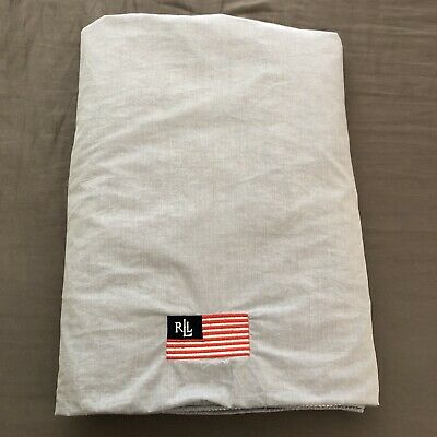 Ralph Lauren Queen Duvet Cover Chambray Reversible Blue/ White Stripe Flag Logo • 56.17£