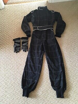 Go Kart One Piece RACE SUIT Junior Overalls Karting Black With Free Gloves VGC • 14.99£