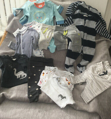 Baby Clothes Bundle Twin Boy Box 18 Items New Born To 1 Month • 24.99£