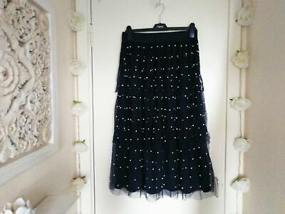 Marks & Spencers M&S Navy Blue Tiered Mesh Net Pearl A-Line Midi Skirt Sz 12 • 9.99£