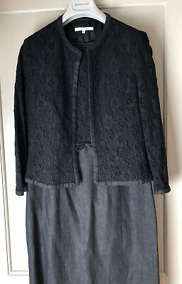 LK Bennett Black Linen And Lace Dress And Jacket Suit Size 12 • 25£