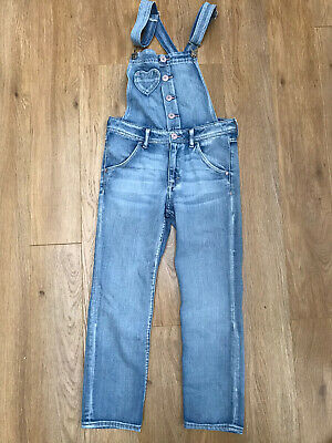 H&M Girls Denim Dungarees With Heart Pockets Age 6-7 Years EU 122 • 8£