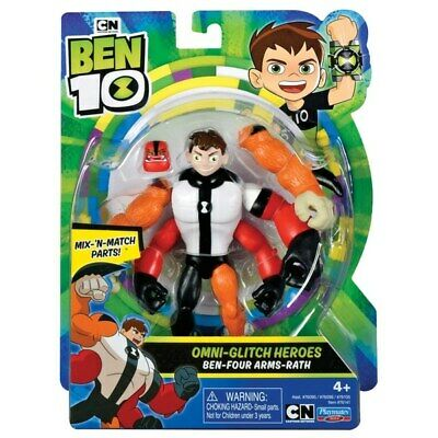 Ben 10 Omni-Glitch Heroes Action Figure Four Arms Wrath 10cm Alien Adventure Toy • 18.99£