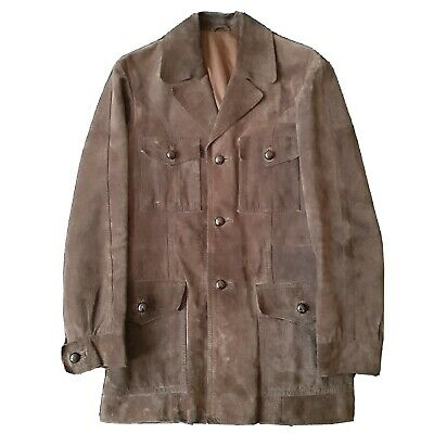 Brown Suede SAFARI JACKET - Pigskin Leather Pork Velour -Once In Hollywood Style • 40£