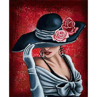 5D DIY Full Drill Lady In Hat Diamond Painting Embroidery Crafts Kits Arts Mural • 7.98£