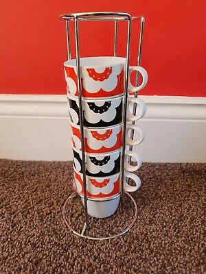 Rayware Stackable Cups Poppies Vintage Set Of 5 • 6.50£