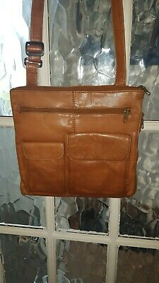 Tan Real Leather Messenger Bag From Travel Smith For Men Or Women • 12£