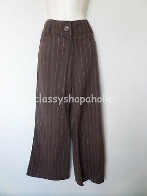 Select Chocolate Brown Striped Linen Mix Trousers - Size 12 - Good Condition • 10£